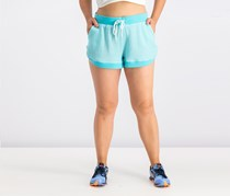Notch-Hem French Terry Shorts, Beach Aqua