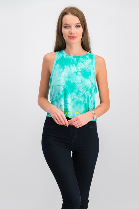 e05a0d58a916 Jessica Simpson Juniors' Tie-Dyed Logo Crop Tank Top, Turf Dreams