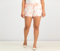 Women Juniors Tie-Dye Drawstring Short, Workout Blush