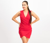 Juniors' Ruched Faux-Wrap Dress, Red