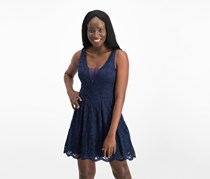 Juniors Lace Fit Flare Dress, Navy
