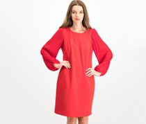 Donna Ricco Pleated-Sleeve Shift Dress, Red