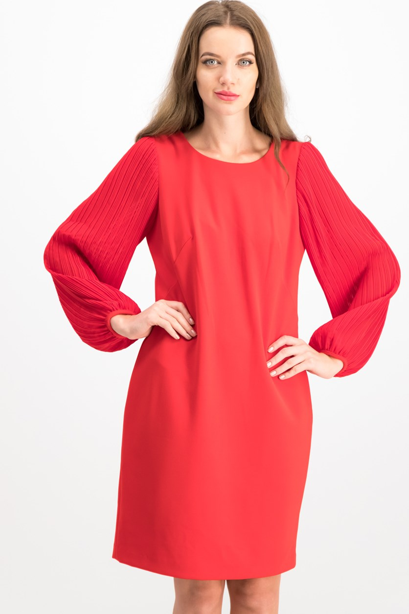 Pleated-Sleeve Shift Dress, Red