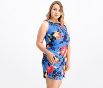 Women Petite Floral Chiffon Dress, Blue Combo