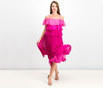 Julia Jordan Tiered Pleated Midi Dress, Pink Combo