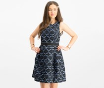 Signature by Robbie Bee Women's Petite Belted Lace A-Line Dress, Blue/Black