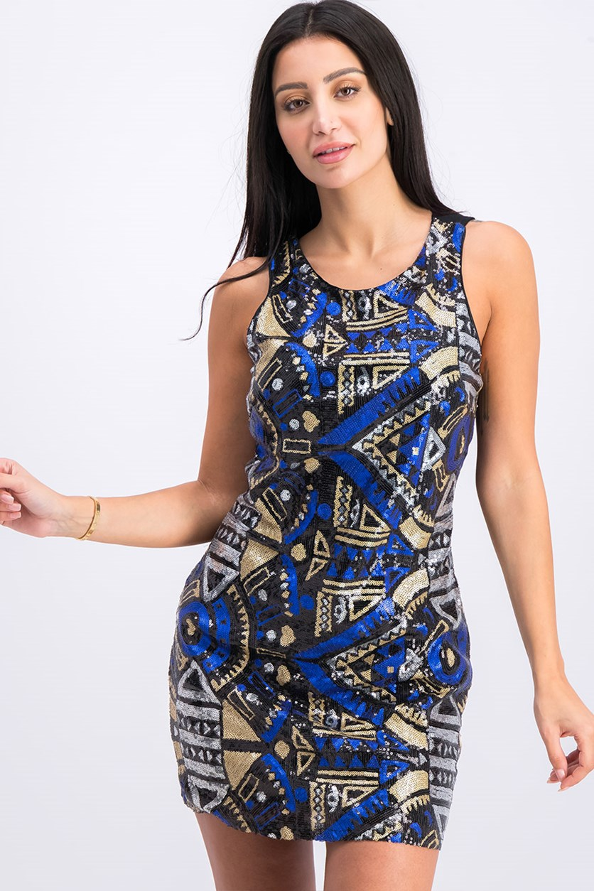 Women's Knit Abstract Pattern Sequin Dress, Black Combo