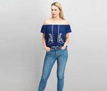 Romeo & Juliet Couture Womens Off The Shoulder Top, Navy