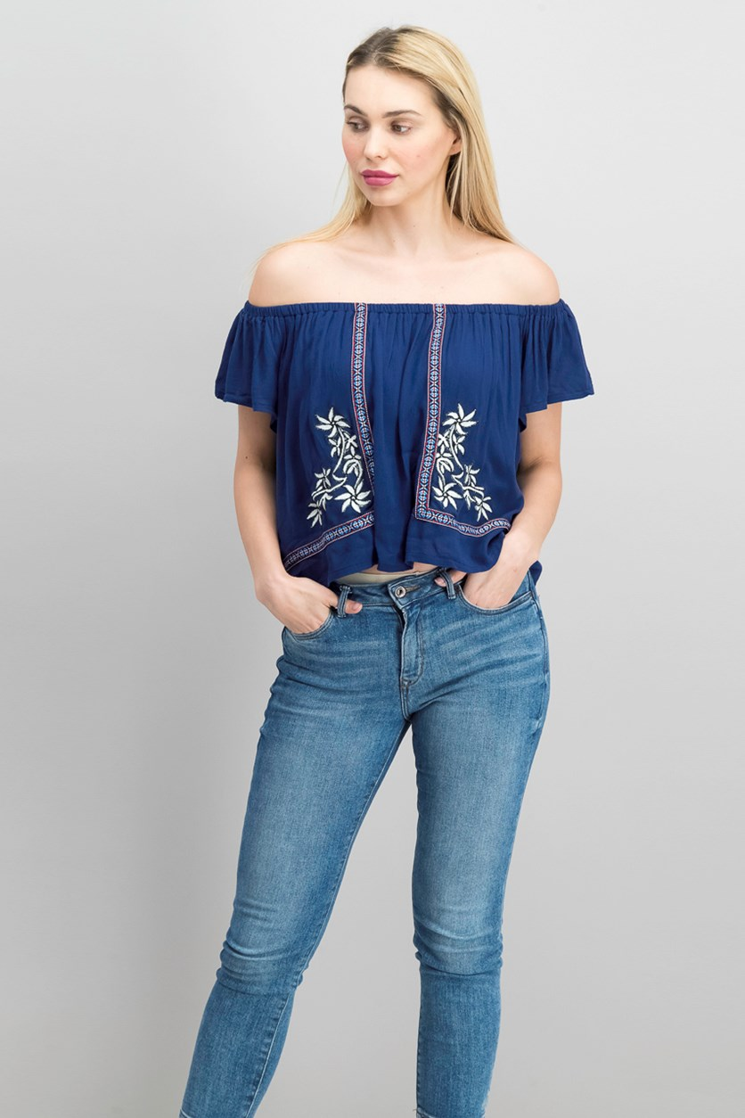Womens Off The Shoulder Top, Navy