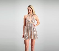 Free People Sequin Cocktail Dress, Rose Gold