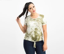 It's Our Time Women's Tie Dye Tee, Olive Green Combo