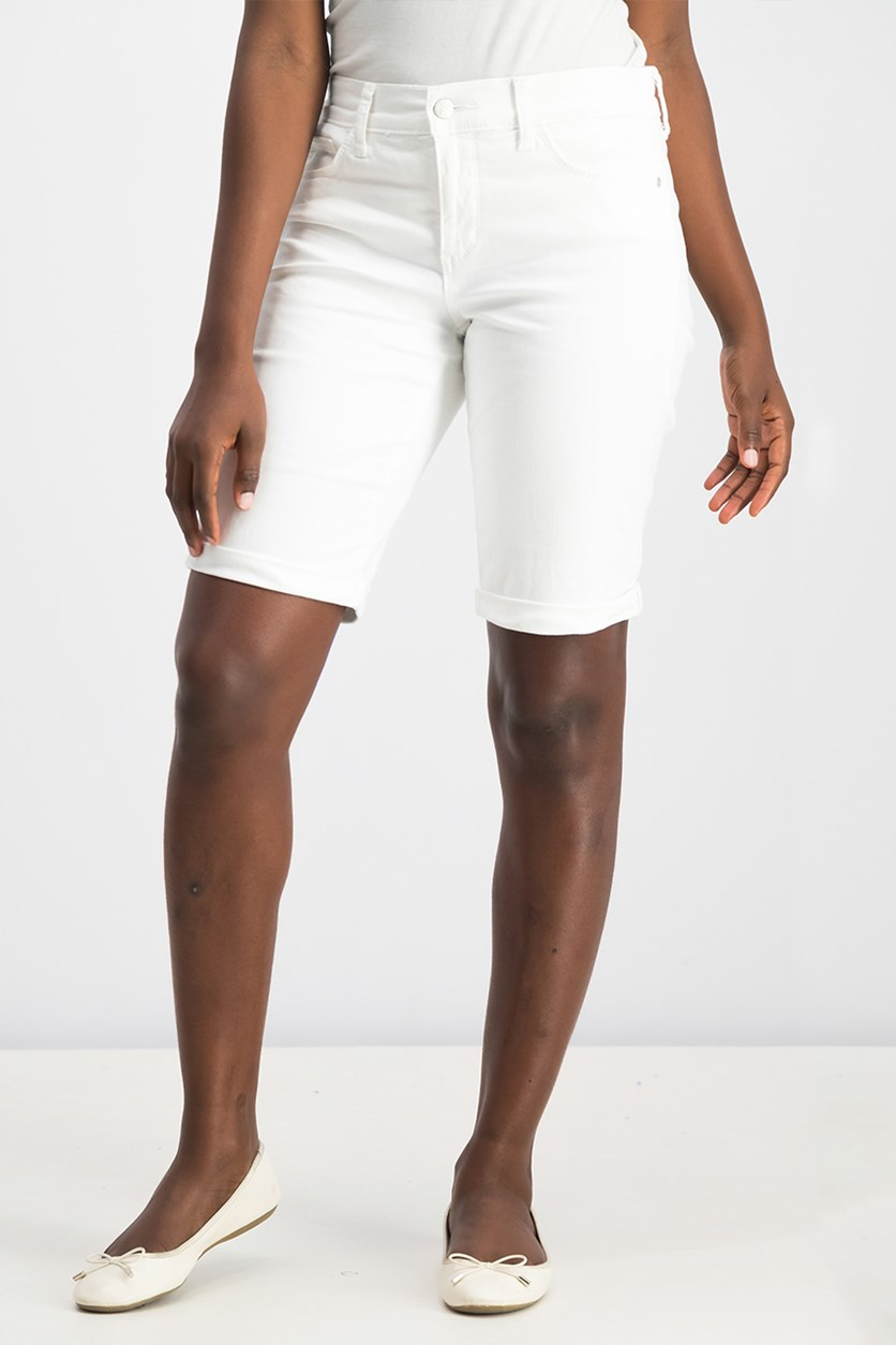 Briella Denim Bermuda Shorts, White