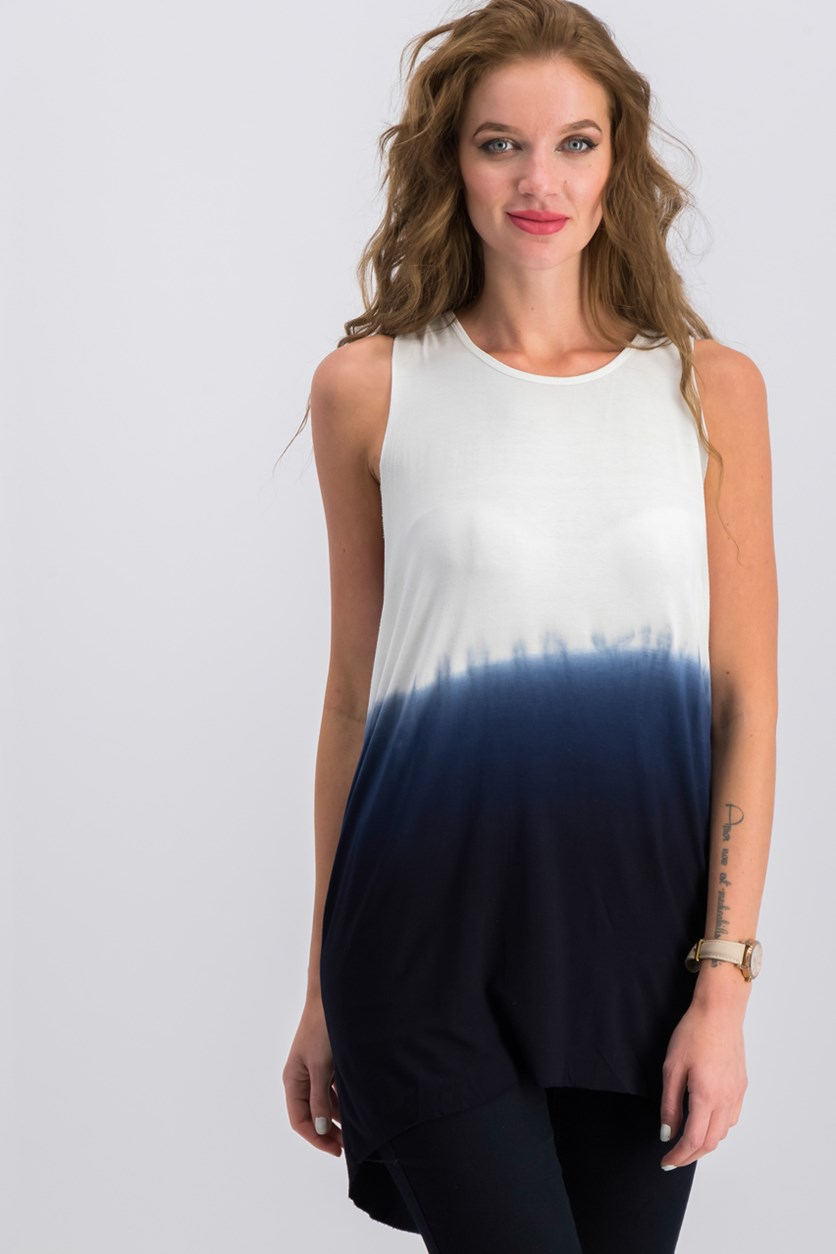 Women's Ombre Tank Top, Navy/White