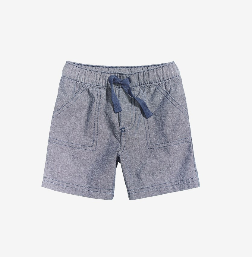 Toddlers Chambray Cotton Shorts, Dark Chambray