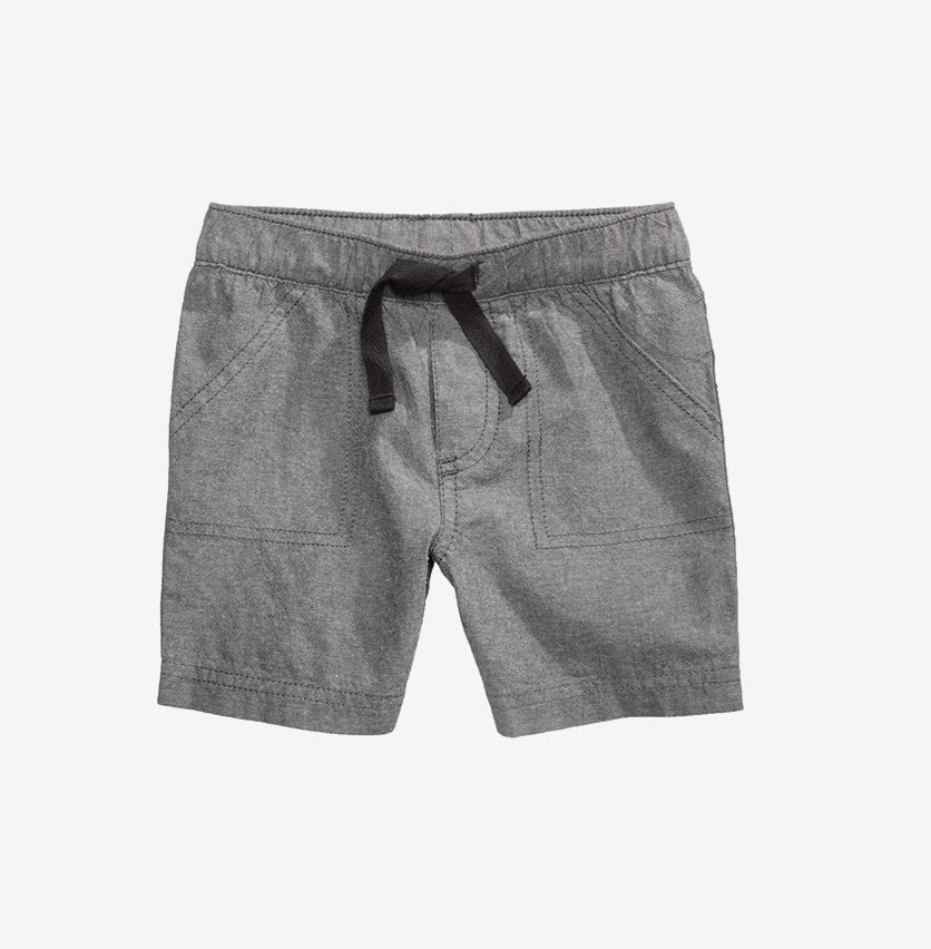 Baby Boys Woven Cotton Shorts, Grey Chambray