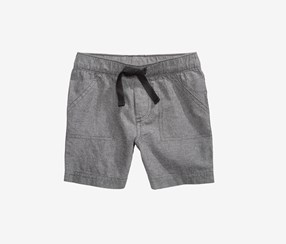 First Impressions Baby Boys Woven Cotton Shorts, Grey Chambray