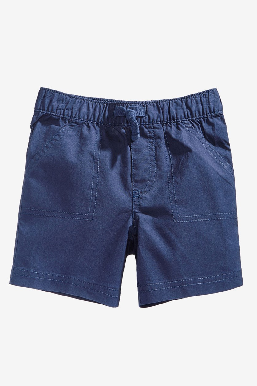 Baby Boy Woven Cotton Shorts, Navy Nautical