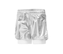 Ideology Metallic Layered-Look Shorts, Silver