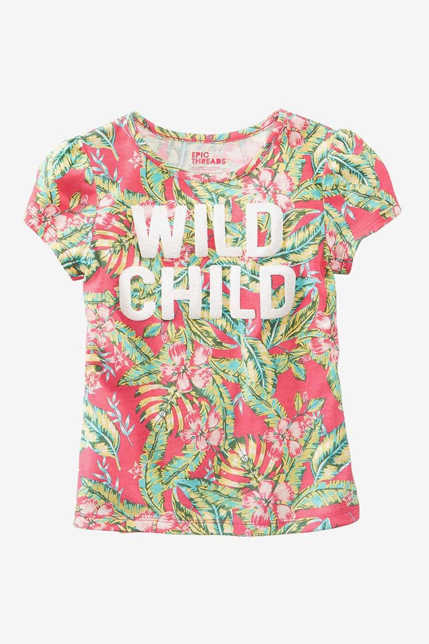 Toddlers Wild Child T-Shirt, Berry Cooler