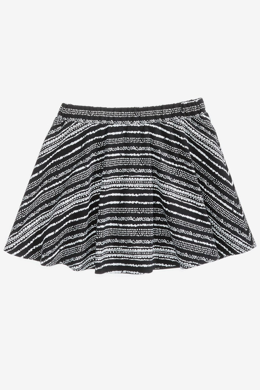Toddlers Geo-Print Scooter Skirt, Deep Black