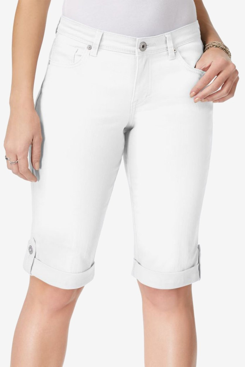 Cuffed Denim Skimmer Shorts, Bright White