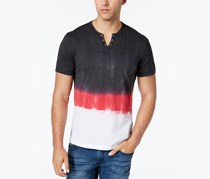 INC Men's Split-Neck Dip Dyed T-Shirt, Grey/Red/White