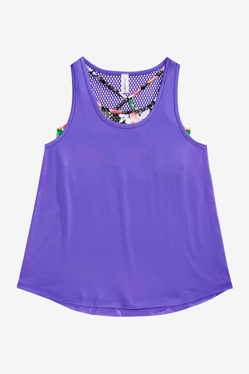 Layered-Look Mesh-Back Tank, Positive Purple