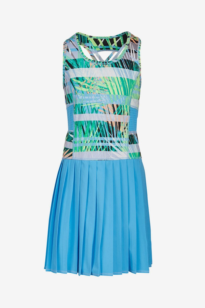 Big Girls Neon Palms Dress, Blue/ Yellow Green Combo