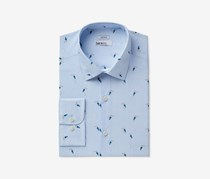 Bar III Men's Slim-Fit Stretch Printed Dress Shirt, Blue/White