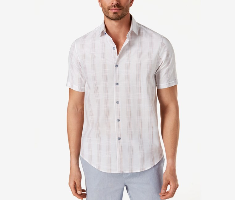 Men's Latomie Dobby Stripe Shirt, White Combo