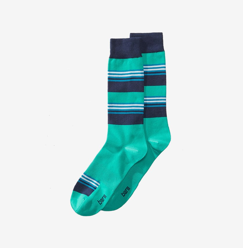 Men's Blocked Striped Socks, Teal Navy Combo