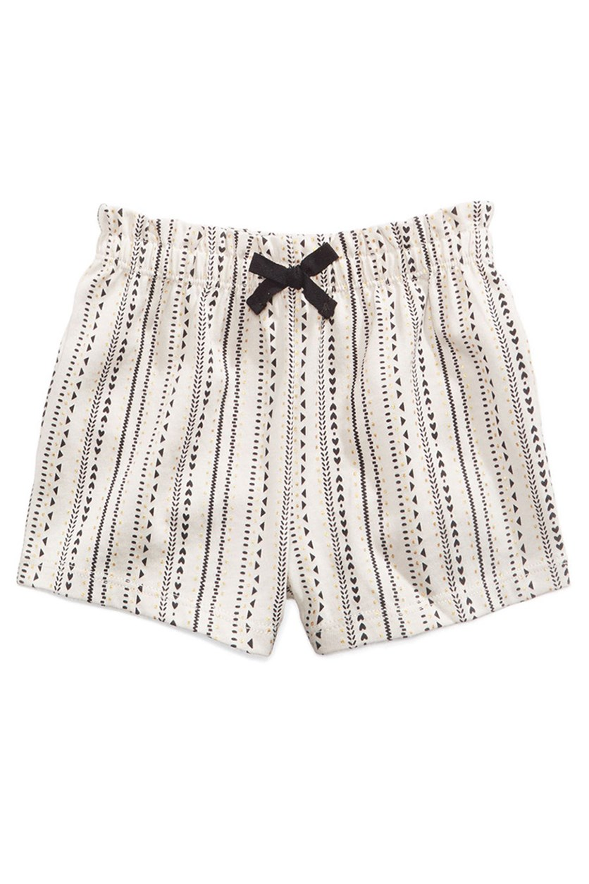 Baby Girls Printed Shorts, Moon Beam