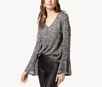 Bar III Lace-Up Bell-Sleeve Top, Charcoal Grey