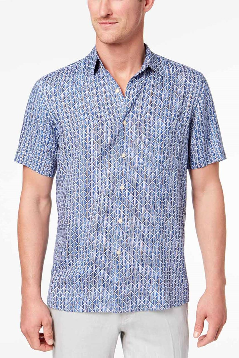 Men's Geo-Print Pocket Shirt, Blue