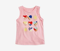 Kids Girls Ruffle-Trim Graphic-Print Tank Top, Pink Dust