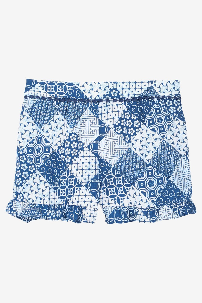 Ruffle-Trim Printed Shorts, Blue