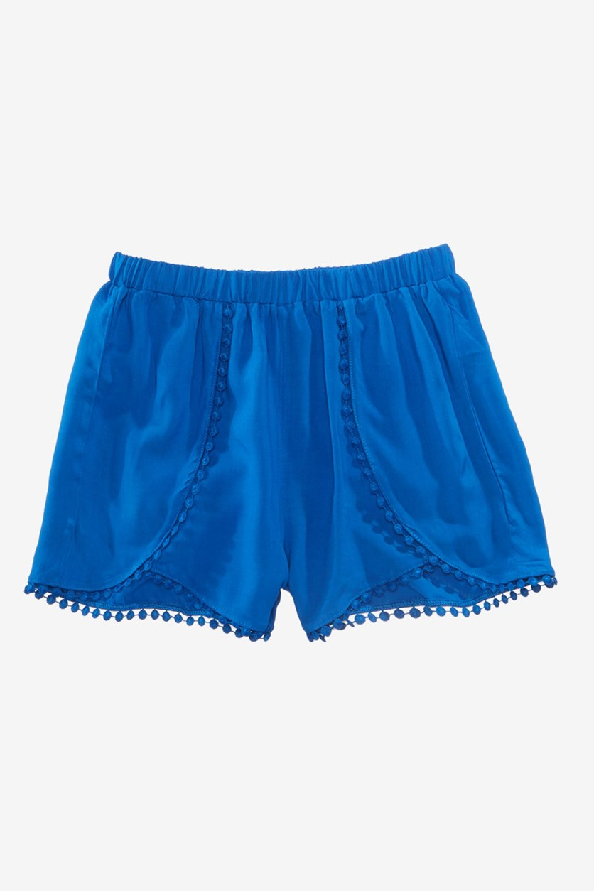 Kids Girls Pom Pom-Trim Shorts, Medieval Blue