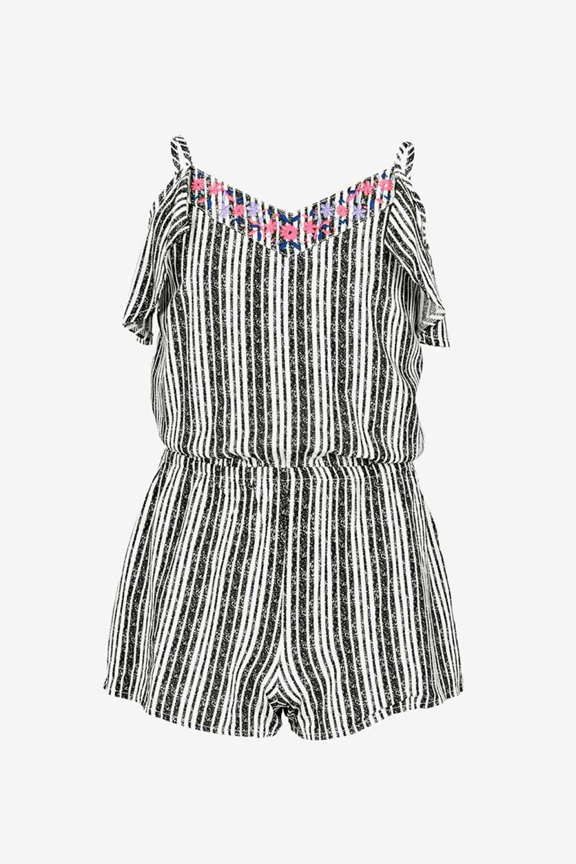 Big Girls Striped Romper, Holiday Ivory