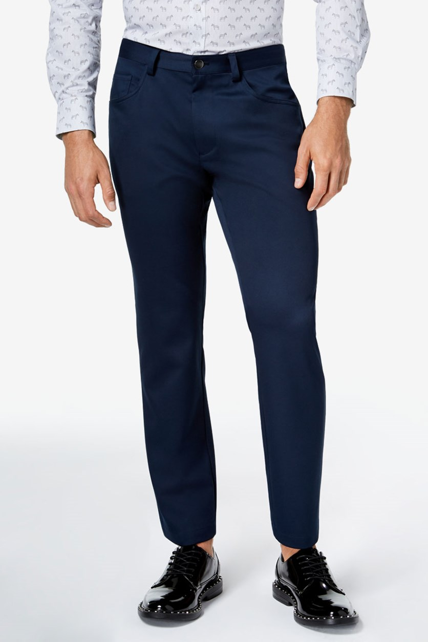 I.n.c. Men's Shiny Slim-Fit Stretch Pants, Navy