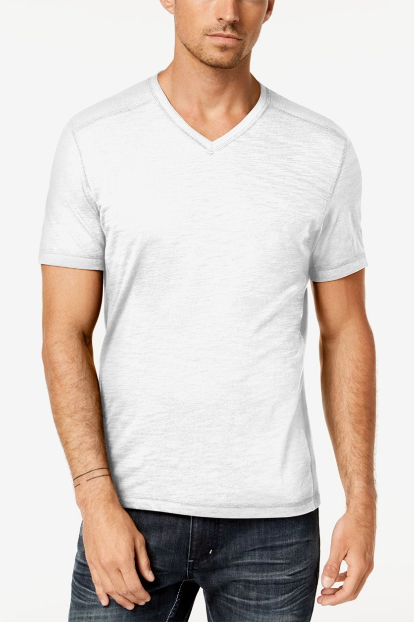 International Concepts Men's Heathered V-Neck T-Shirt, White Pure