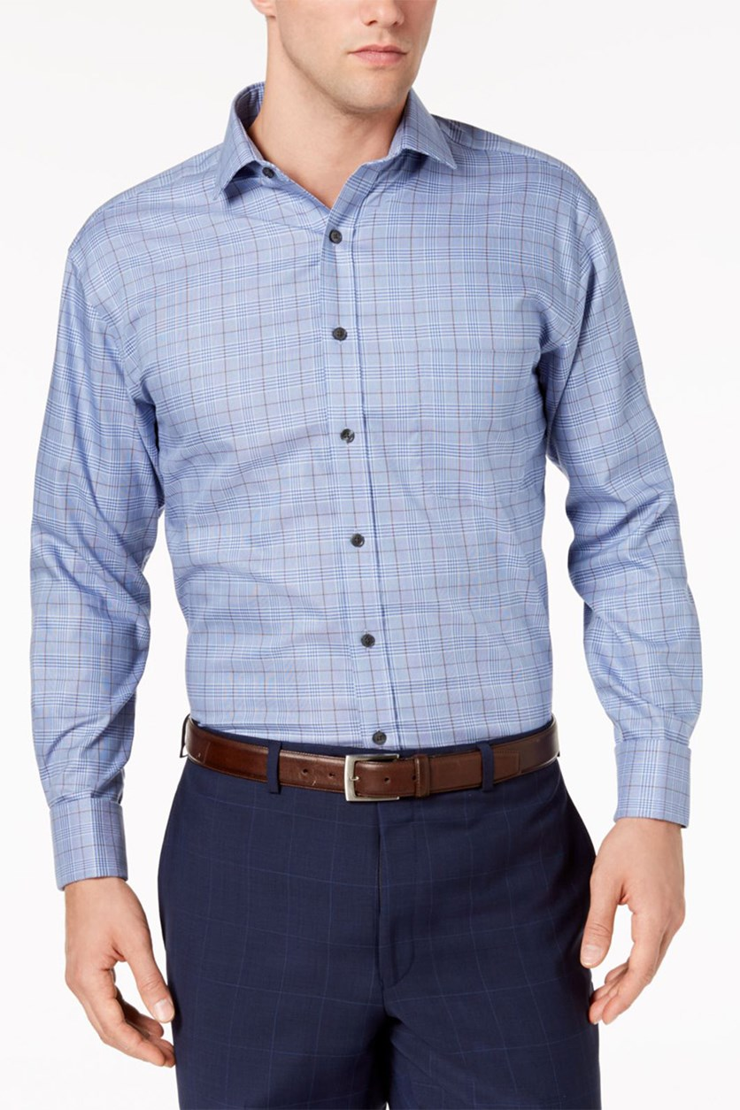 Men's Regular Fit Non-Iron Medium Twill Plaid Dress Shirt, Blue/Brown
