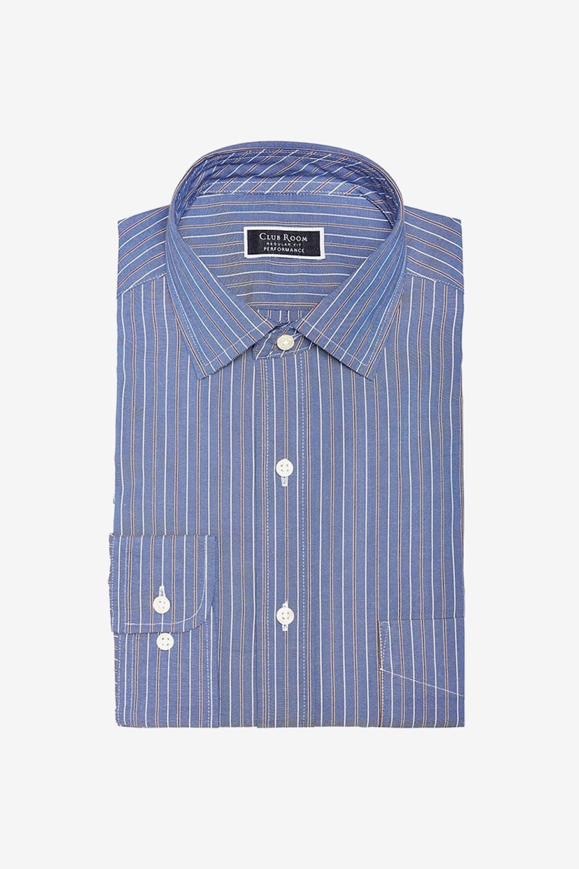 Men's Classic/Regular Fit Stretch Dress Shirt, Blue Combo