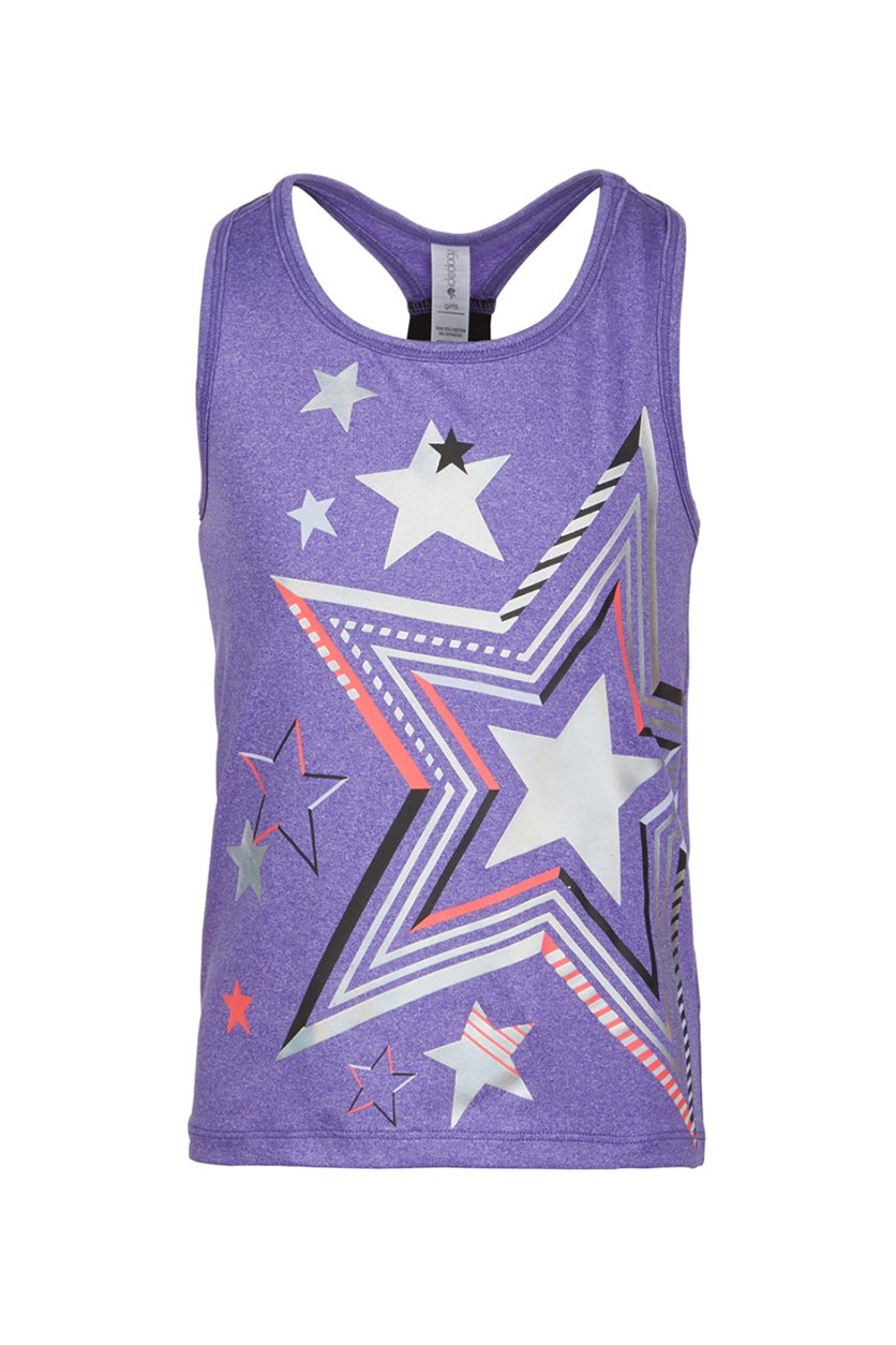 Toddler Girls Star-Print Tank, Positive Purple