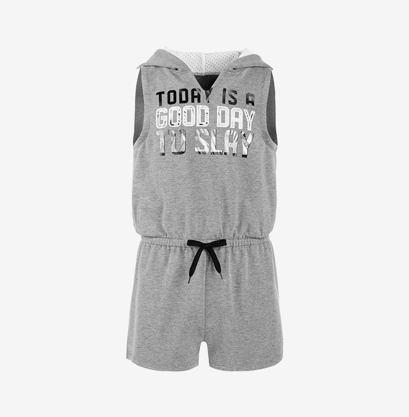 Graphic-Print Hooded Romper, Charcoal Heather