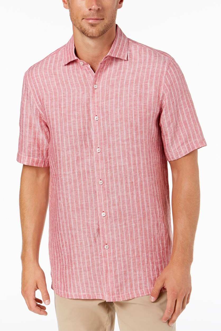 Men's Linen Striped Shirt, Red Combo