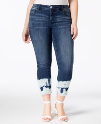 INC Womens Plus Tie-Dyed Straight Leg Ankle Jeans, Indigo