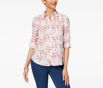 Charter Club Petite Printed Linen Button Top, Bright White Combo