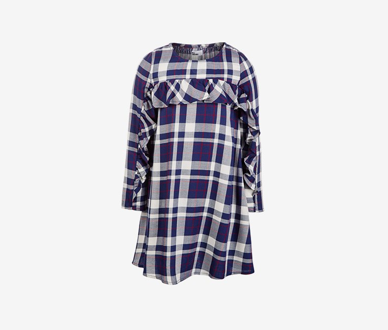 Toddler Girls Ruffle-Trim Plaid, Medival Blue