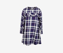 Little Girls Ruffle-Trim Plaid, Medival Blue