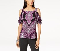 Petite Printed Cold-Shoulder Top, Charmed Paisley